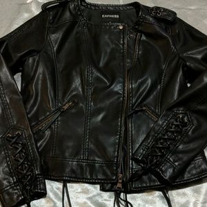 Express black lmotto jacket vegan leather size L